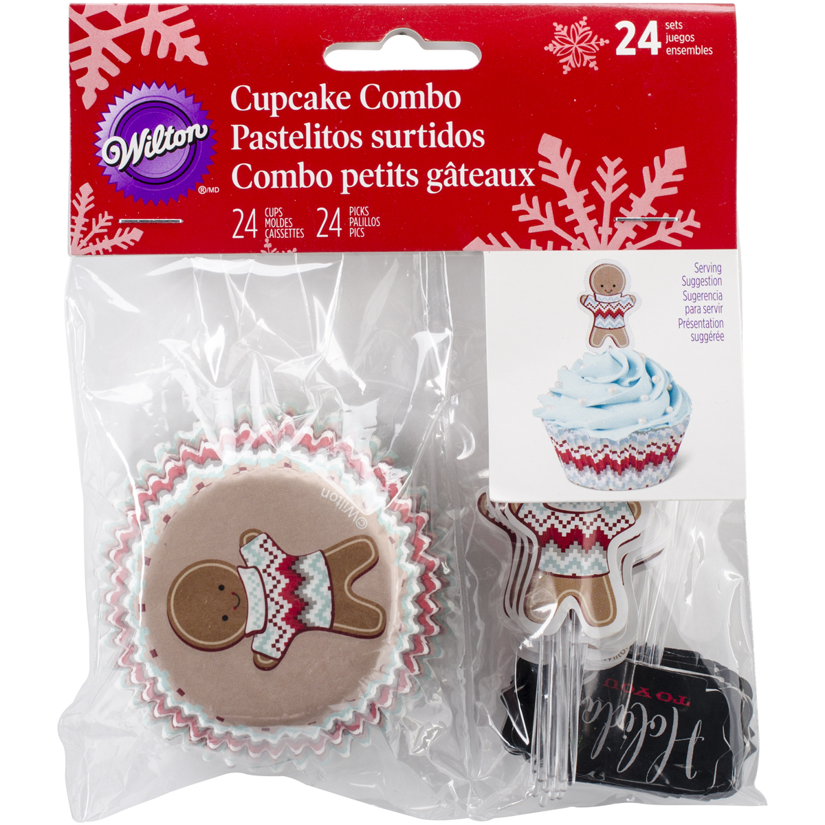 Wilton Industries 415-2607 Christmas Holiday Sweet Swap Cupcake Combo Baking Cups and Picks Multi-Colored