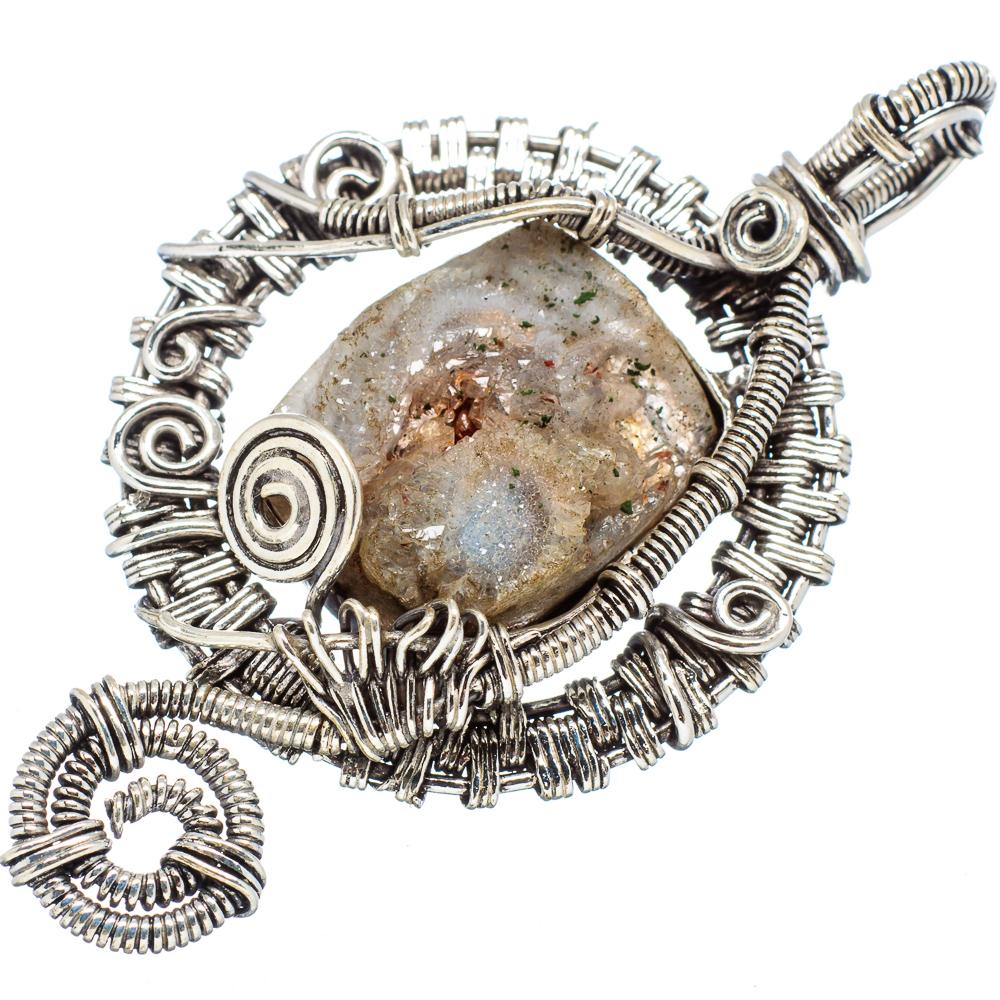 "Ana Silver Co Huge Desert Druzy 925 Sterling Silver Pendant 2 1/4"" PD569109"