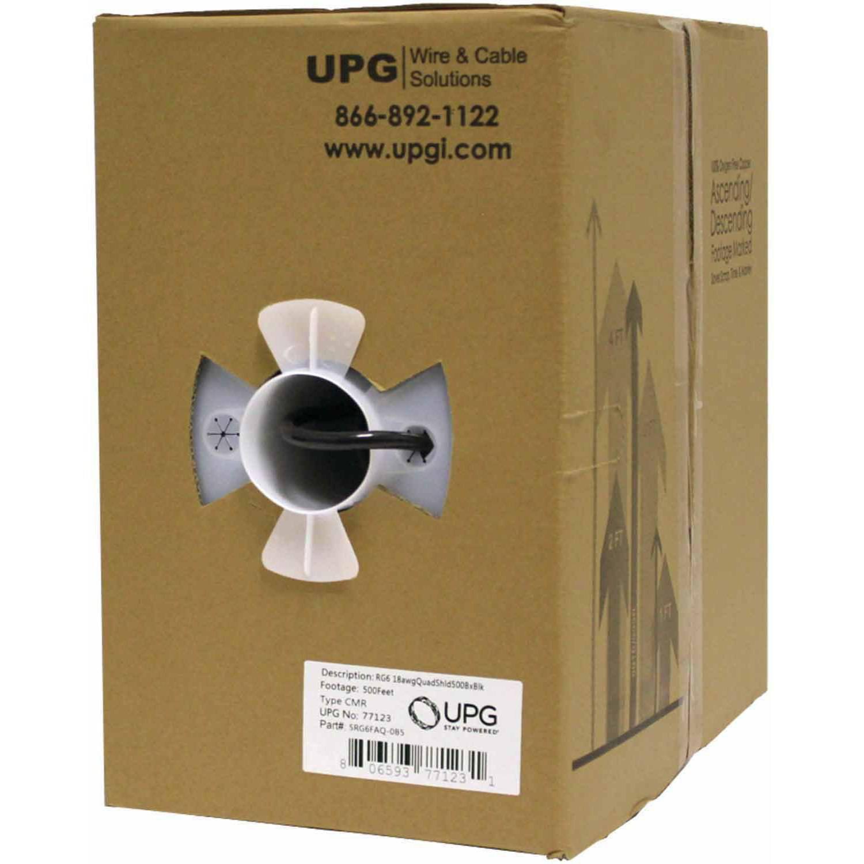 UPG RG6 CCS Quad-Shield Cable, 500'