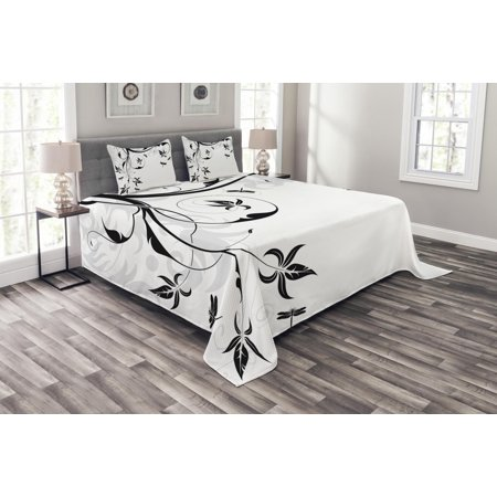 Dragonfly Bedspread Set, Swirled Floral Background with Damask Curl Branches and Leaves Print, Decorative Quilted Coverlet Set with Pillow Shams Included, Pale Grey Black White, by Ambesonne ()