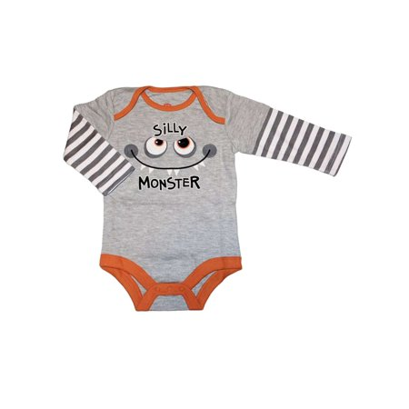 My Halloween Infant Boys Gray & Orange Silly Monster Creeper Baby Bodysuit