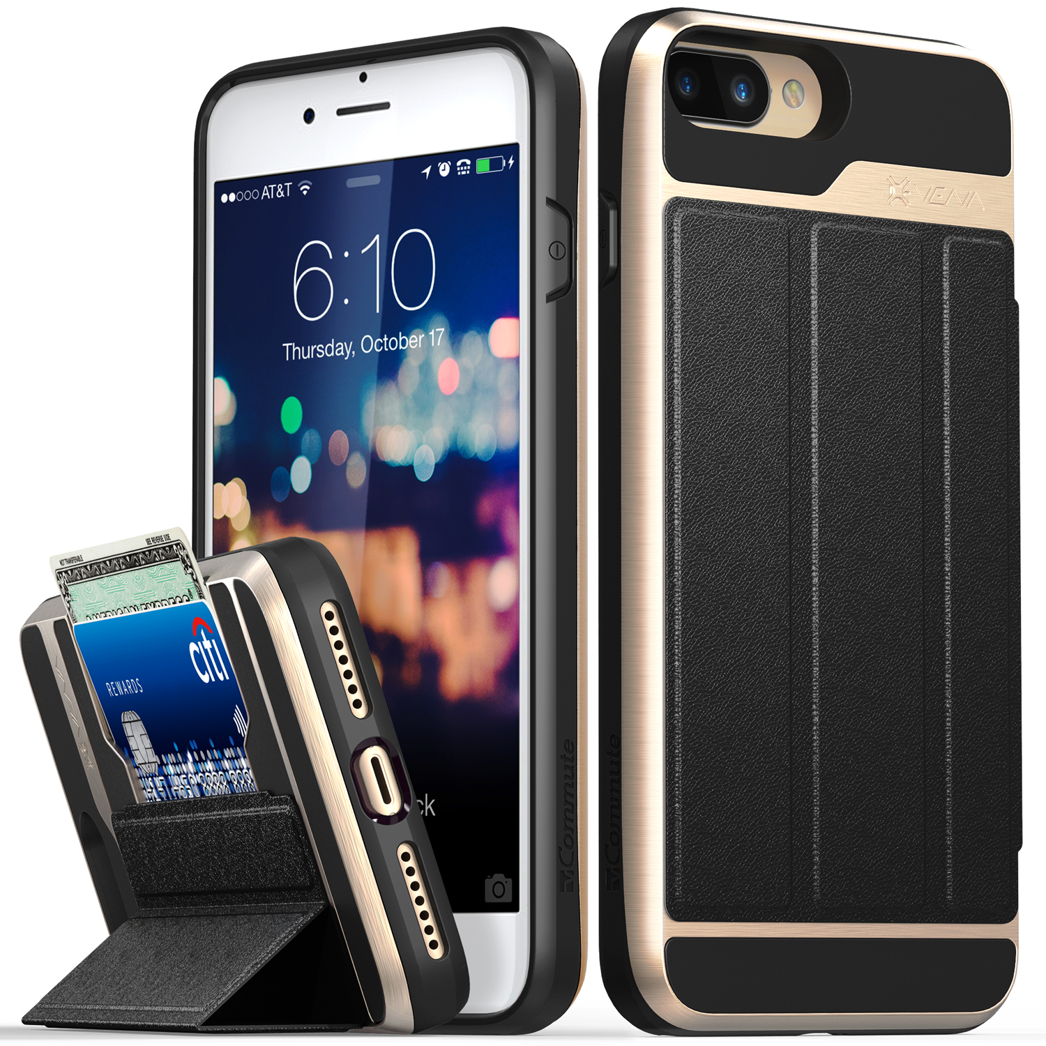 iPhone 8 Plus Wallet Case, iPhone 7 Plus Wallet Case, Vena [vCommute][Military Grade Drop Protection] Flip Leather Cover Card Slot w/ KickStand for Apple iPhone 8 Plus / 7 Plus (Gold / Black)