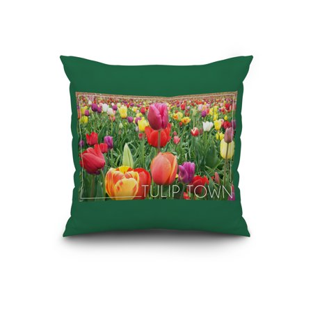 Tulip Town Washington Tulips Lantern Press Photography 20x20 Spun Polyester Pillow Custom Border