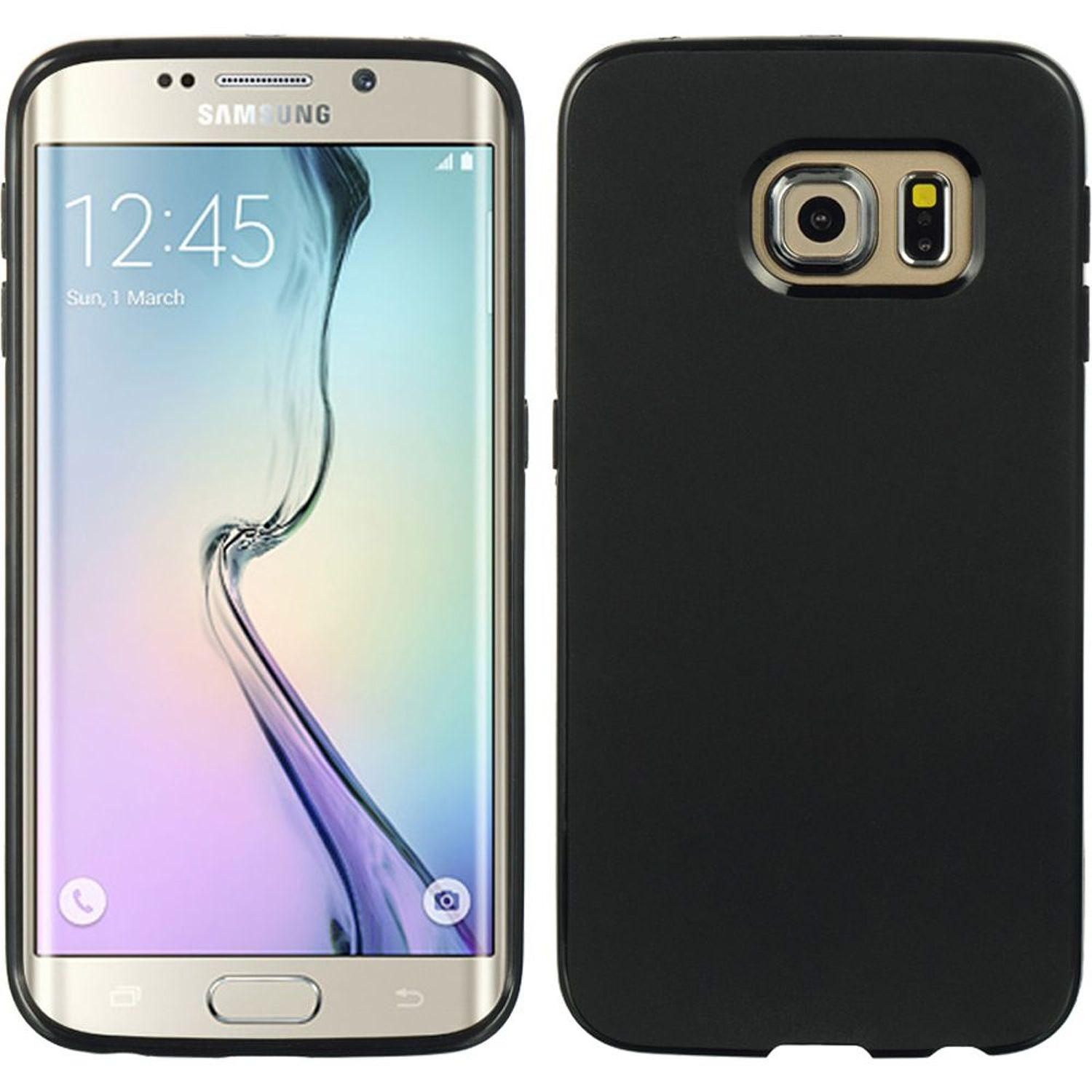 Insten TPU Rubber Candy Skin Case Cover For Samsung Galaxy S6 Edge, Black