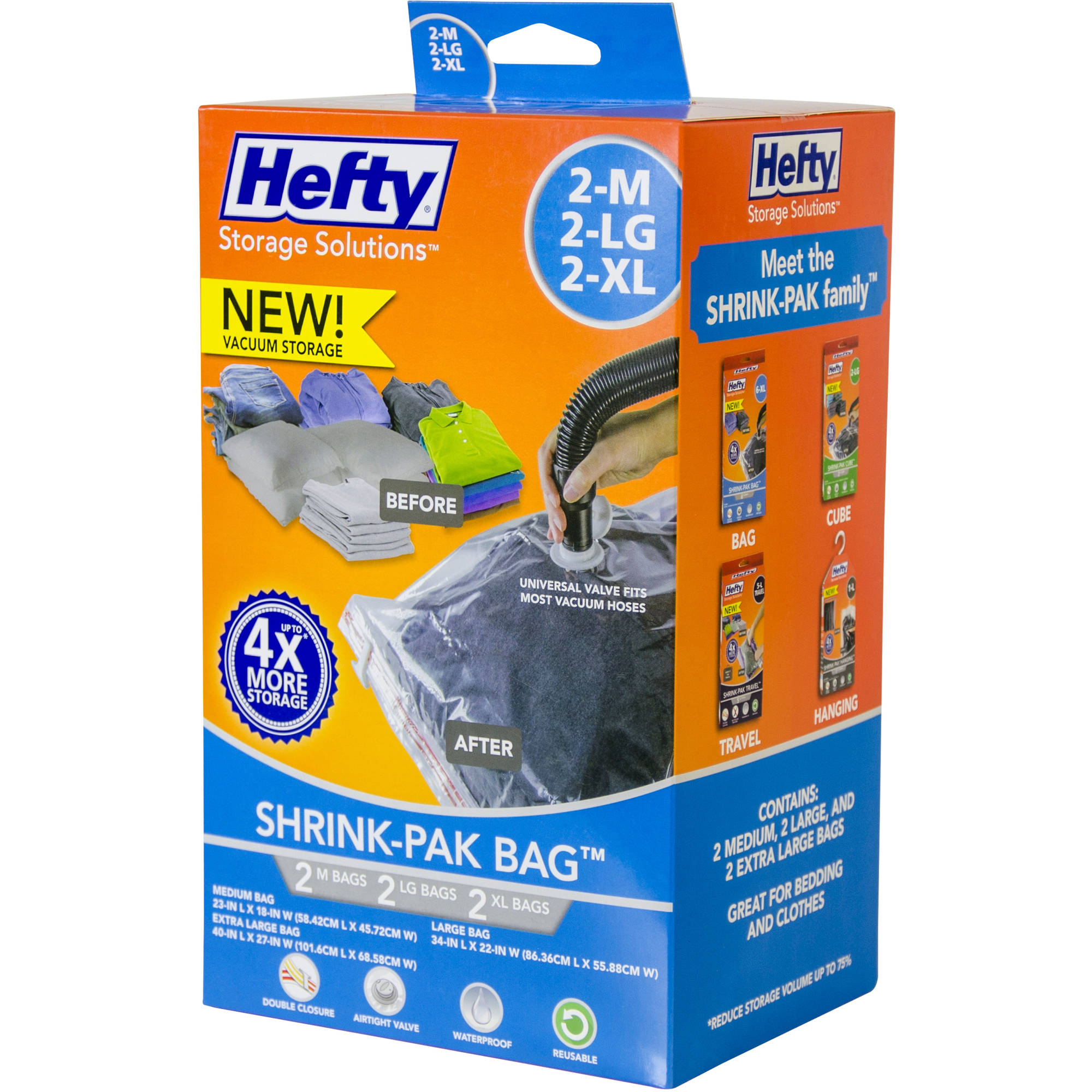 Hefty Shrink-Pak Vacuum Seal Bags, 2 Medium, 2 Large and 2 X-Large Bags