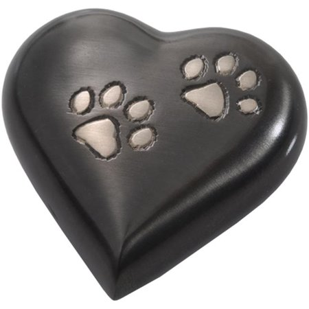 Gunmetal Heart - Memorial Gallery 8351G- gunmetal Gun Metal Pawprint Heart Pet Urn