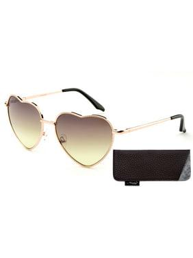 Product Image Women Heart Sunglasses Metal Frame Spring Hinged Lovely  Aviator Heart Shape Mirror Flash Lens 933d2796e