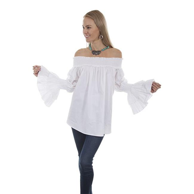 Scully H427-WHT-M Ruffled Sleeves Off-Shoulder Blouse, White - Medium - image 1 de 1