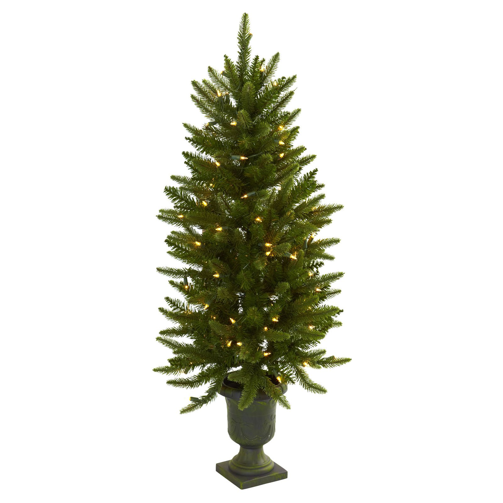 Nearly Natural 4 ft. Pre-lit Christmas Tree with Urn - Clear Lights
