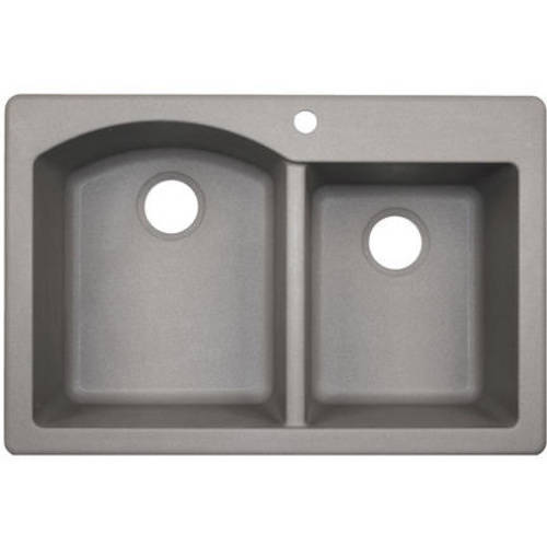 """Swan QZDB-3322-075 33"""" x 22"""" Granite Dual Mount Kitchen Sink, Available in Various Colors"""