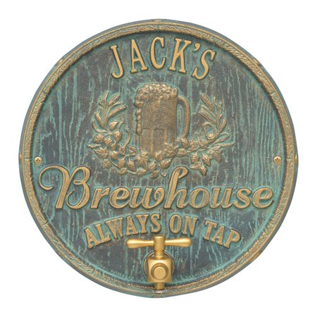 Personalized Whitehall Products Oak Barrel Beer Pub Plaque in Bronze ()