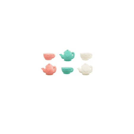 Set of 12 Tea Party 1 1/8inch - 1 1/4inch Edible Sugar Cake & Cupcake Decoration Toppers