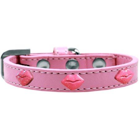 Pink Glitter Lips Widget Dog Collar Light Pink Size 12