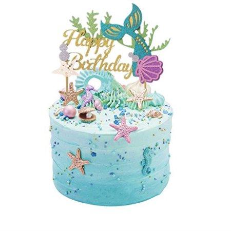 Sakolla Glitter Mermaid Cake Topper Happy Birthday Picks Decoration For Baby Shower Party Sup