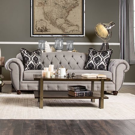 Furniture Of America Viviana Gray Fabric Upholstered Sofa Couch With Rolled Arms