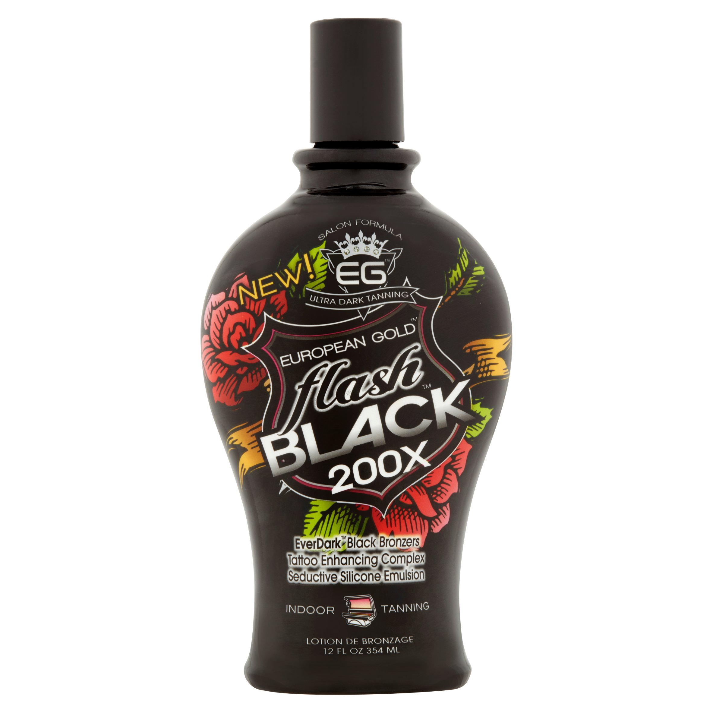 EG European Gold Flash 200X EverDark Black Bronzers Indoor Tanning Lotion, 12 fl oz