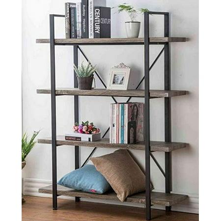 Bookshelf - Modern Industrial Bookcase, 4-Tier Metal and Wood Shelves, Storage Rack Shelves, Bathroom, Living Room, Wood Look Accent Furniture Frame, Rustic Brown ()