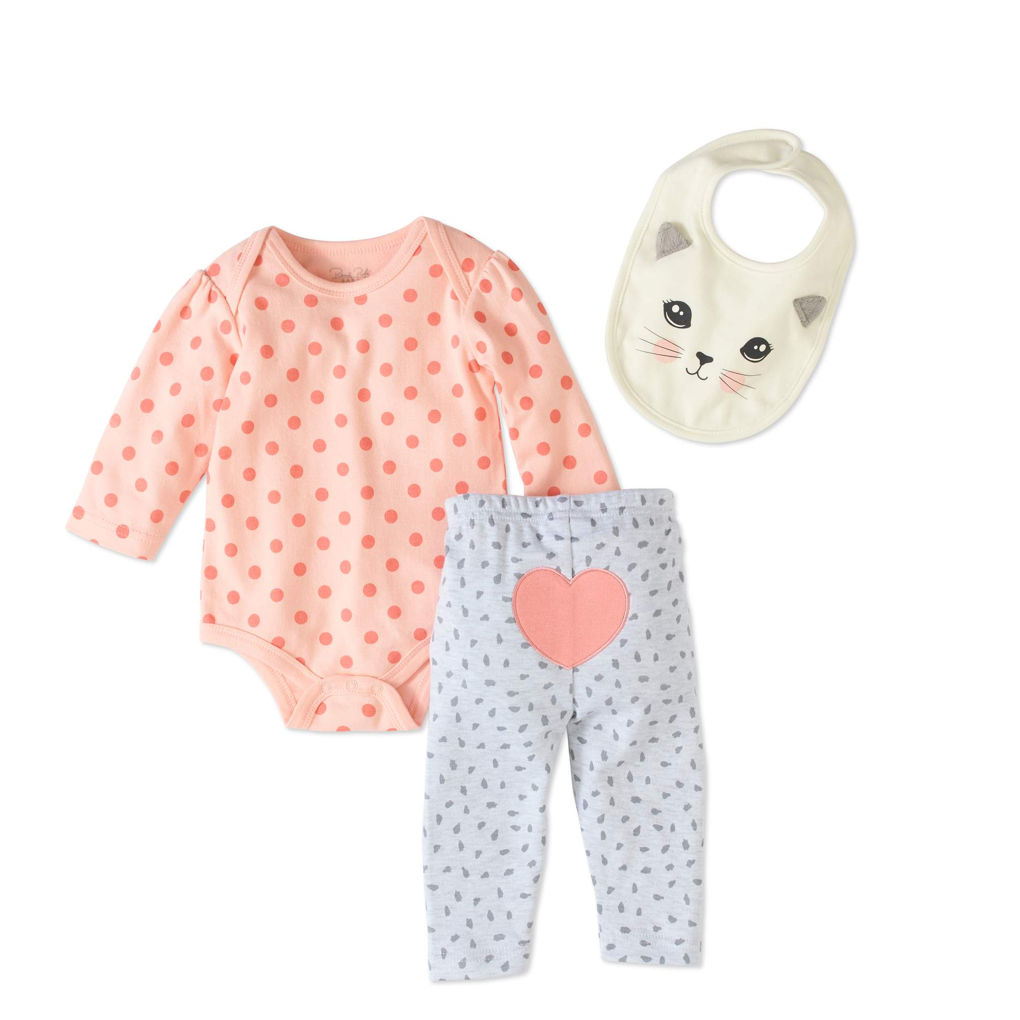 Rene Rofe Newborn Baby Girl Bodysuit, Bib & Turn-Me-Round Leggings, 3pc Set