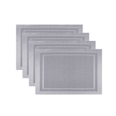 Playmat Set - Fete Moderne Set of 4 Easy Care Wipe Clean Border Placemat | Silver