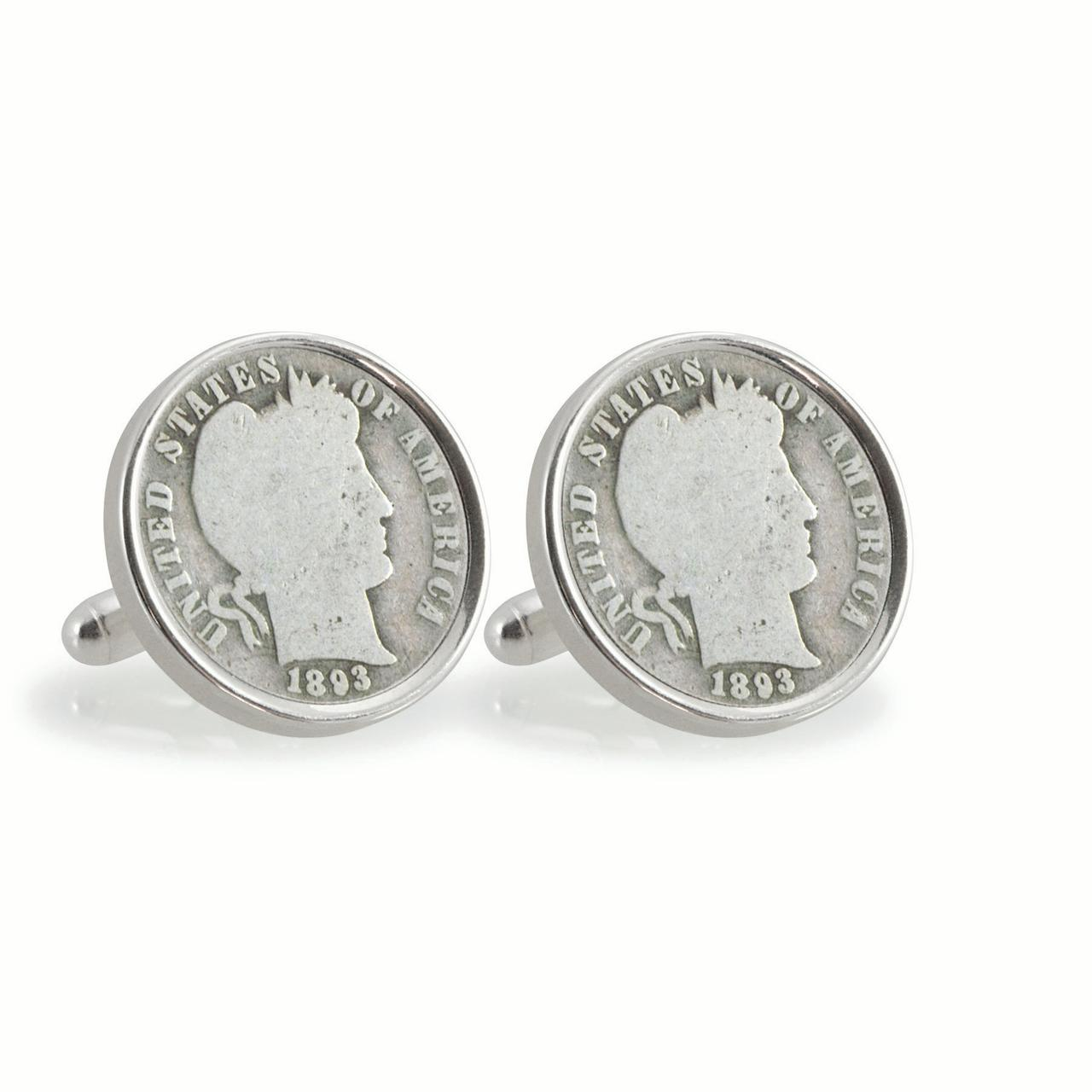 1800's Silver Barber Dime Sterling Silver Coin Cuff Links