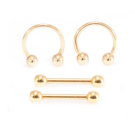 Nipple Rings Barbell And Circular Barbell Horseshoe 16G 10mm Surgical Steel