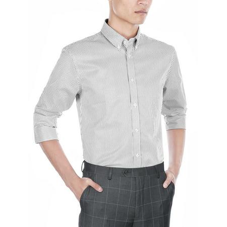 6b6dbc20ddb Verno - Mens Slim Fit Long Sleeve Black and White Stripe Dress Shirt ...