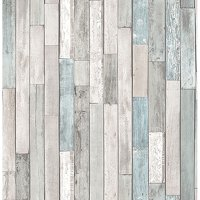 Brewster Barn Board Grey Thin Plank Wallpaper