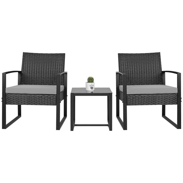 Walnew Patio Furniture Cushioned PE Rattan Bistro Chairs Set of 2 with Table, 3 Piece