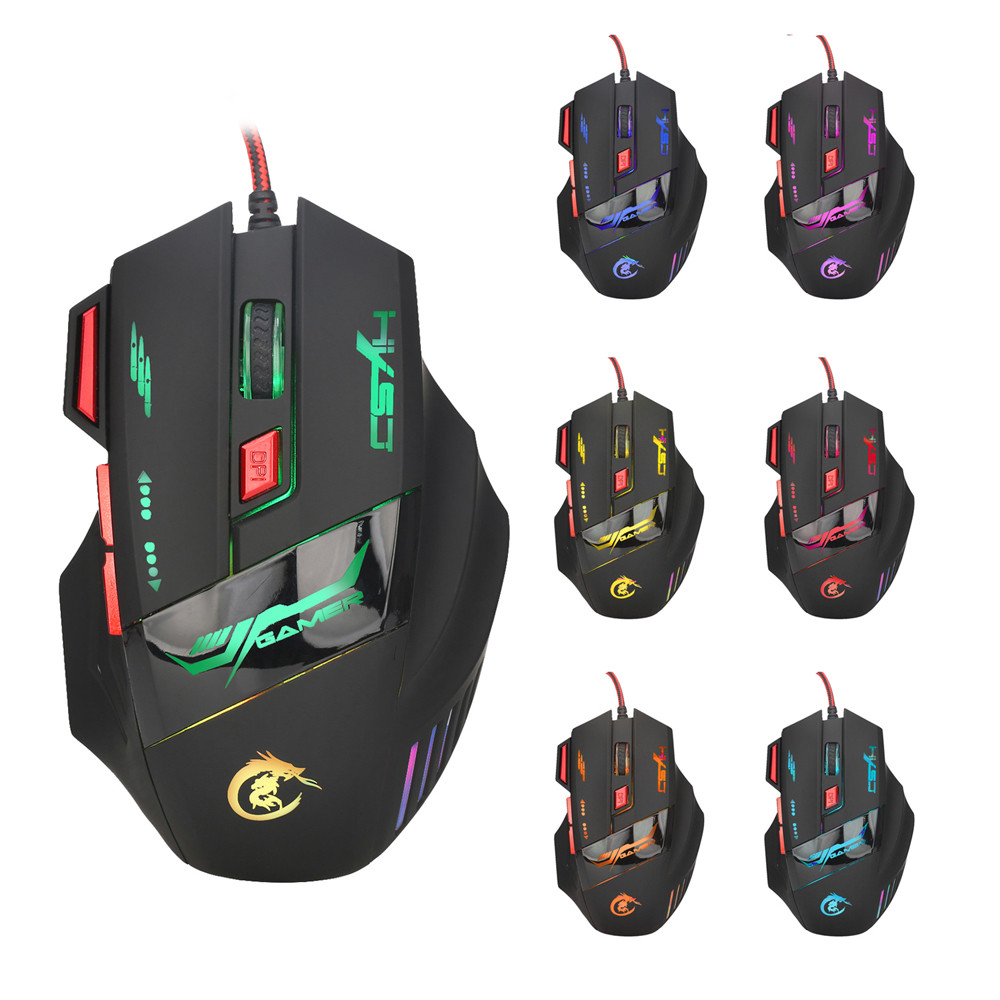 Outtop Professional 7 Buttons 5500DPI USB Optical Wired Gaming Mouse Mice For PC Laptop