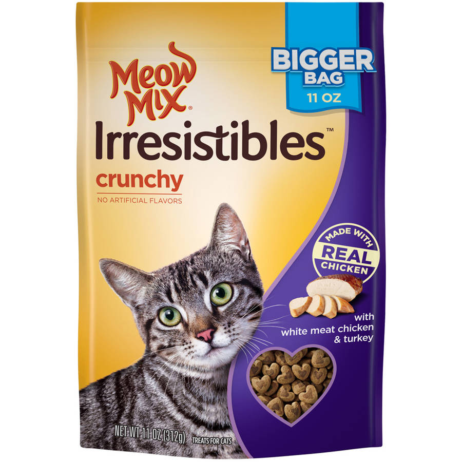 Meow Mix Irresistibles Cat Treats, Crunchy with White Meat Chicken and Turkey, 11 oz