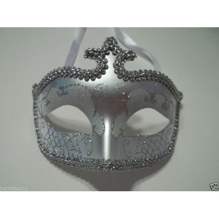 White Silver Glitter Venetian Masquerade Costume Mask Halloween New Years Party](Masquerade New Years Party)