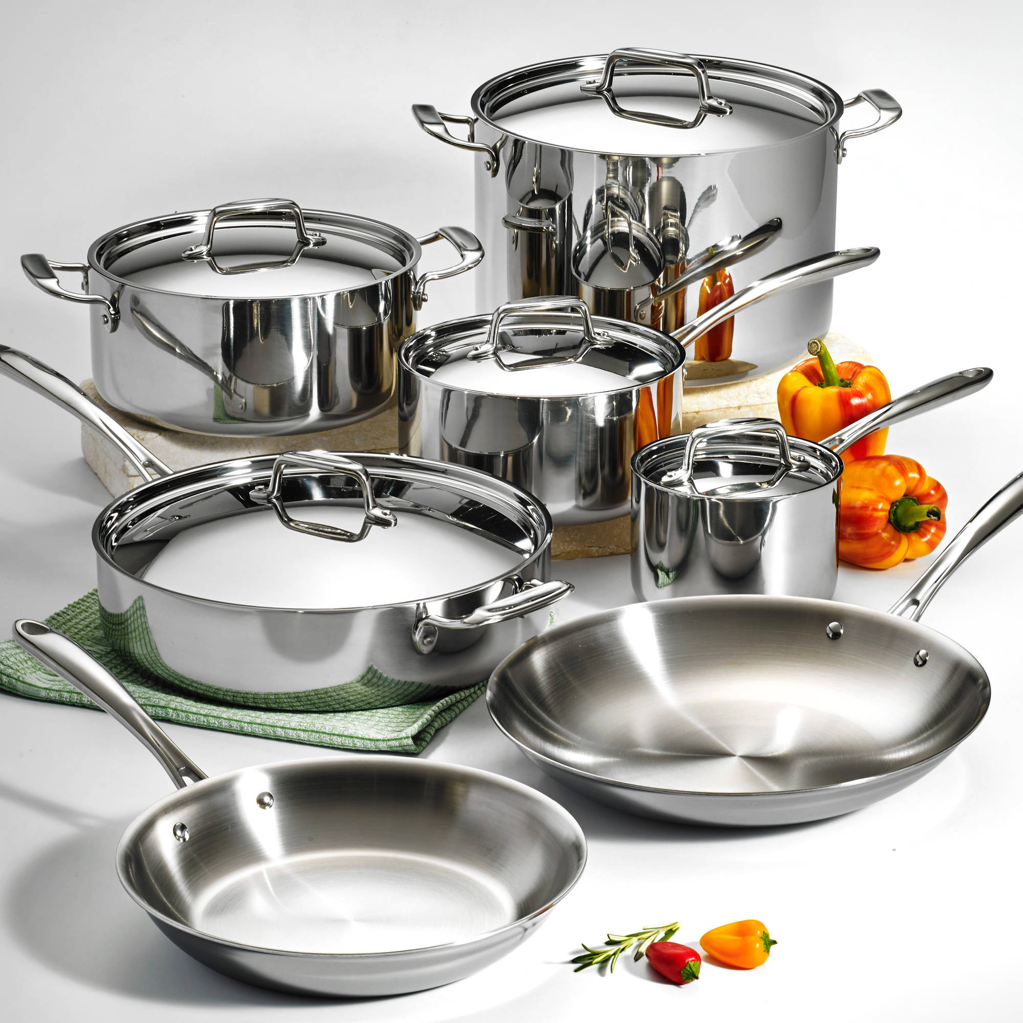 Tramontina 12-Piece Stainless Steel Tri-Ply Clad Cookware Set