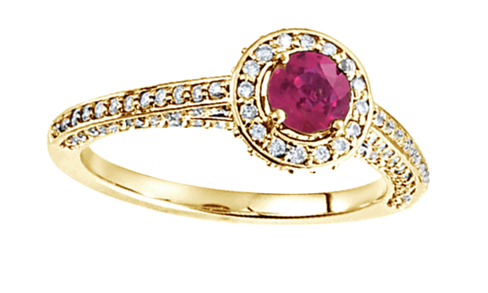 Simulated Pink Ruby With Natural Diamond Halo Engagement Ring In 14K Solid Rose Gold By Jewel Zone US by Jewel Zone US