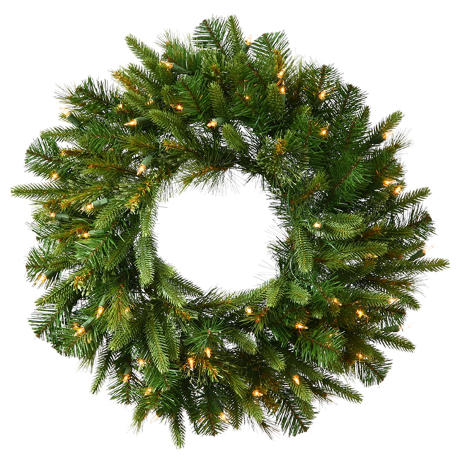 """30"""" Pre-Lit Battery Operated Mixed Pine Cashmere Christmas Wreath - Clear Lights"""