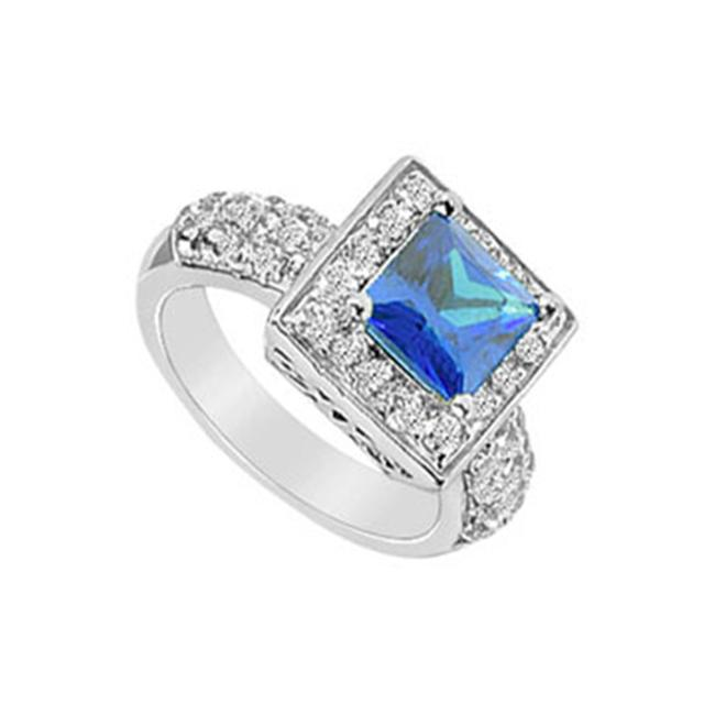 FineJewelryVault UBUK279W10CZS-118 Diffuse Sapphire and Cubic Zirconia Ring : 10K White Gold - 2. 00 CT TGW - Size: 7