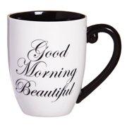 Evergreen Flag Elegant Black Ink Coffee Cup, Good Morning Beautiful