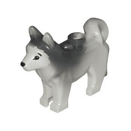 Logo Dog (LEGO Animal Dog Husky with Black Eyes, Black Nose and Marbled Dark Bluish Gray Ears and Back Pattern Minifigure )