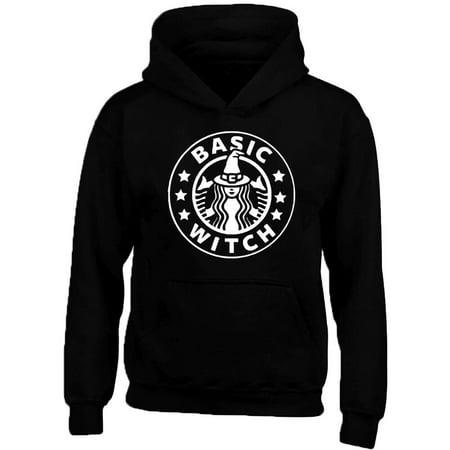 Basic Witch Star Logo Funny Boo Halloween Design Black Sweatshirt Hoodie Unisex Small](Orange And Black Nail Designs For Halloween)