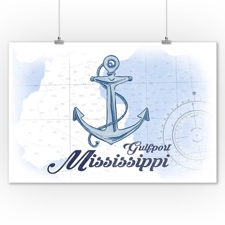 Gulfport  Mississippi   Anchor   Blue   Coastal Icon   Lantern Press Artwork  9X12 Art Print  Wall Decor Travel Poster