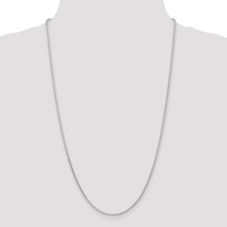 14K White Gold 1.9mm Round Diamond Cut Wheat Chain 18 Inch - image 4 de 5