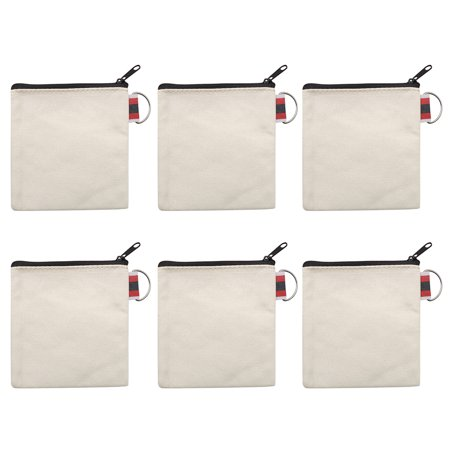 Aspire 12-Pack Natural Canvas Coin Purses with Black Zipper DIY Square Pouches