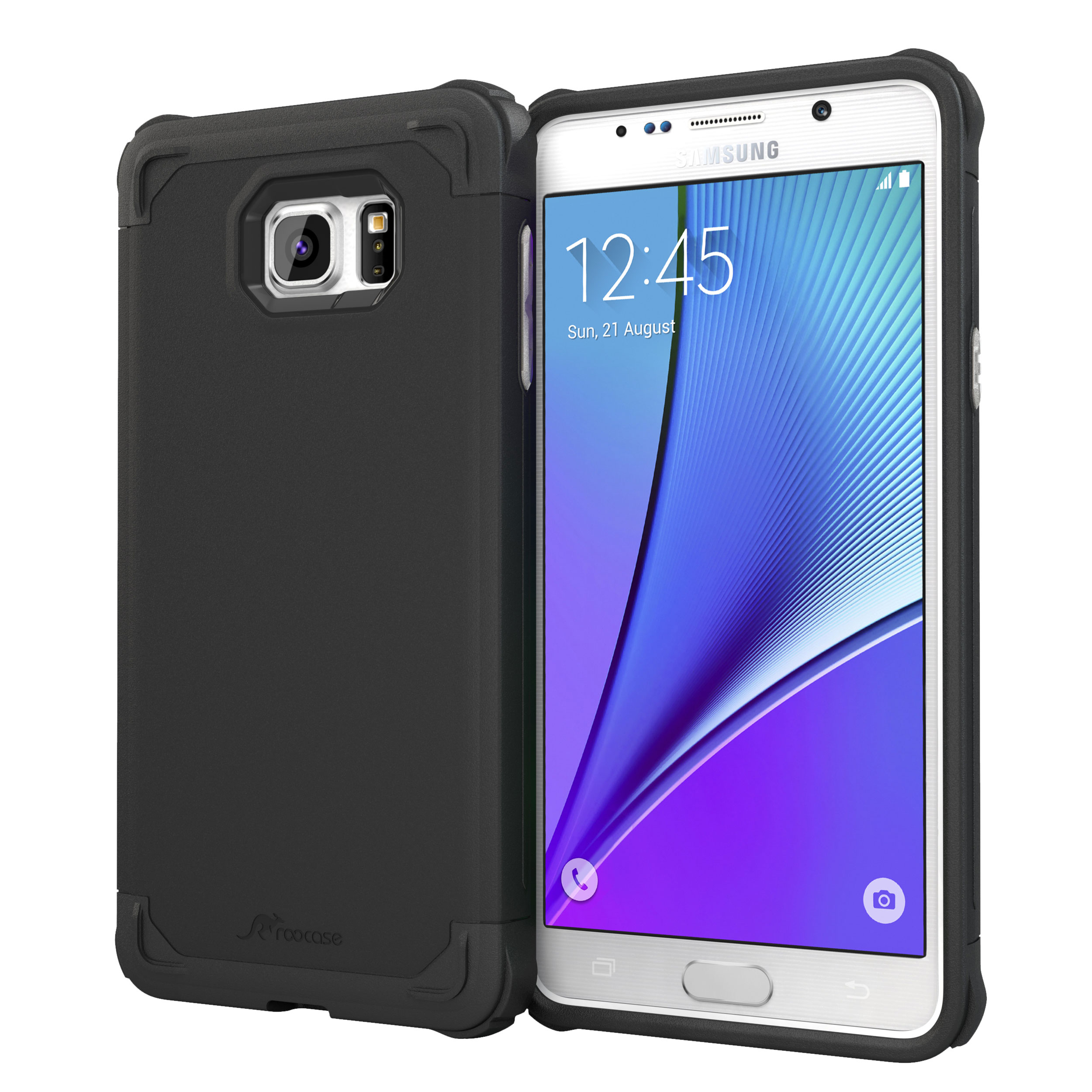 Galaxy Note5 Case, roocase [Exec Tough] Galaxy Note5 Slim Fit Case Hybrid PC / TPU [Corner Protection] Armor Cover Case for Samsung Galaxy Note 5 (2015)