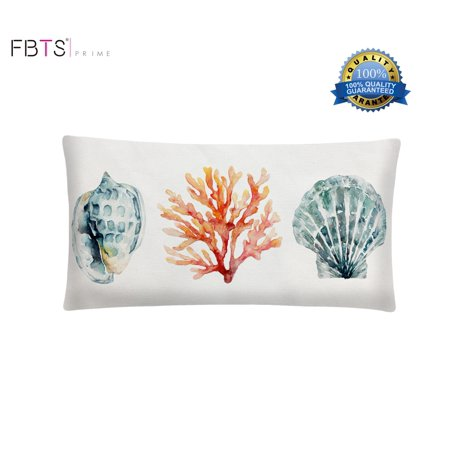 100% Cotton Throw Lumbar Waist Pillow Case 16 x 26 Inches Marine Organism Shells and Corals Decorative Cushion Covers Waist Pillow Sham for Couch Bed Sofa Indoor Furniture by FBTS Prime ()