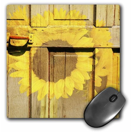 3dRose Rustic Yellow Sunflowers and a Door - Inspired Flowers, Mouse Pad, 8 by 8 (Flowers Pad)