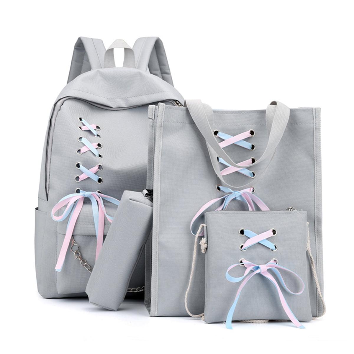 4Pcs//Set Ribbon Chain Bowknot Letter Canvas Backpack Travel Leisure Backpacks For Teenage Girls School 4pcs beige set 40cm