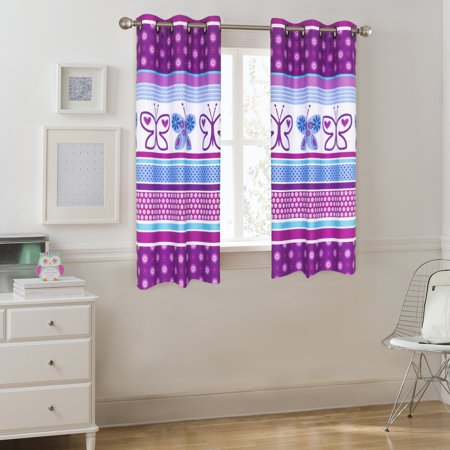 Mainstays Kids Grommet Room Darkening Purple Butterfly Single Window Panel - Pink And Purple Room Ideas
