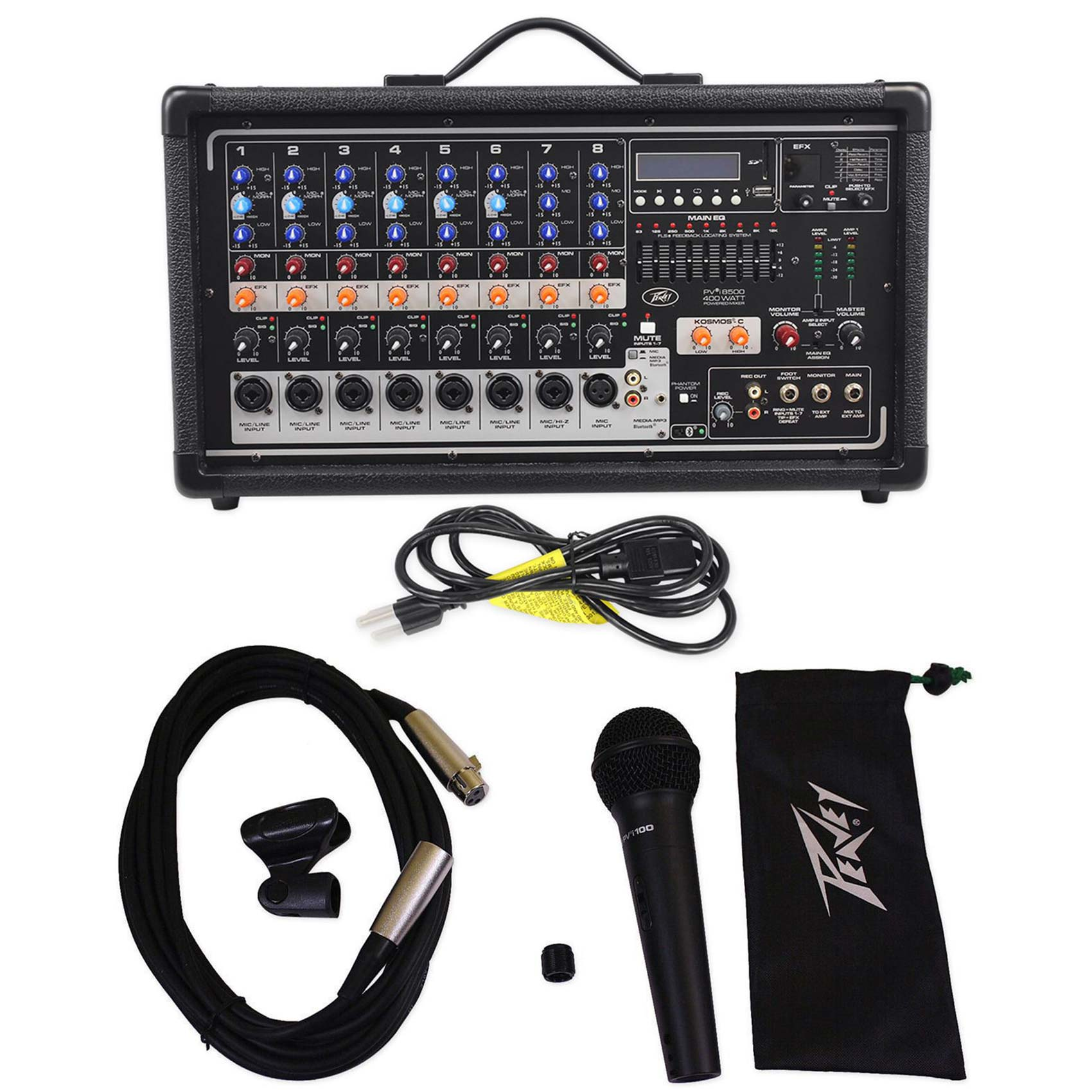 Peavey Pvi8500 400W 8-Ch. Powered Live Sound Mixer w/Bluetooth+Peavey Microphone
