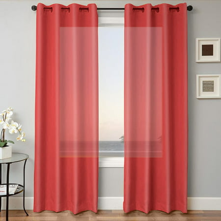 "1 PANEL MIRA  SOLID RED SEMI SHEER WINDOW FAUX SILK ANTIQUE BRONZE GROMMETS CURTAIN DRAPES 55 WIDE X 63"" LENGTH"