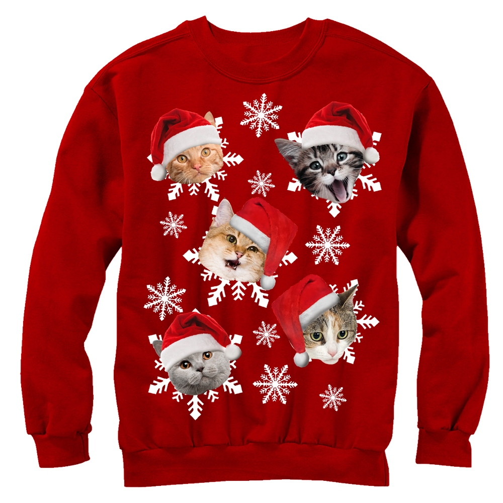 Lost Gods Womens Ugly Christmas Sweater Cat Snowflakes Sweatshirt