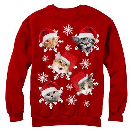 b5aca79ff1d3 Lost Gods - Women s Ugly Christmas Sweater Cat Snowflakes Sweatshirt ...